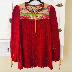 Free People Red Roses Crochet Sweater M